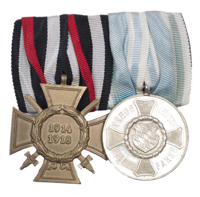 WWI Bayern Bavaria double medalbar with Dienstauszeichnung III Klasse + Frontkämpfer Ehrenkreuz
