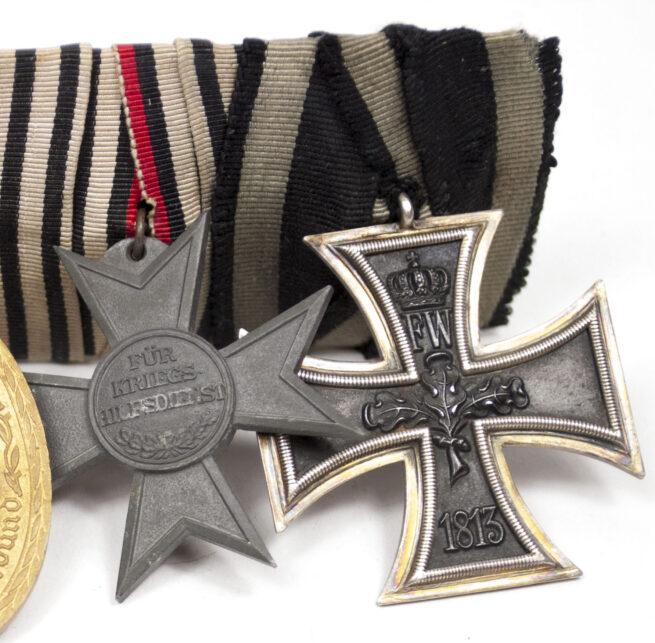 WWI German medalbar with EK2, Kriegshilfskreuz, Kyffhäuserbundmedaille, Centenary medal, Treue Dienste, Frontkämpferkreuz