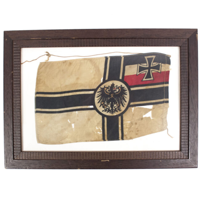 WWI small German table flag (framed)