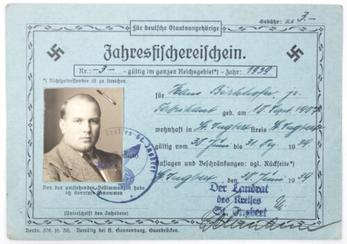 2x Jahresfischerschein from the same owner (1939 + 1942)