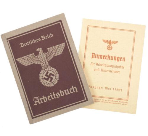 Arbeitsbuch second type from Arbeitsamt Schneidemühl + Merkblatt