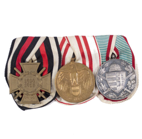 German WWI Medalbar with Frontkämpferkreuz, Austrian and Bulgarian commemorative medals