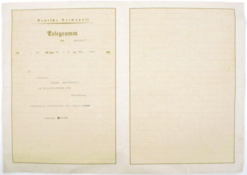 German WWII Telegram from Goslar to Magdeburg (1939)