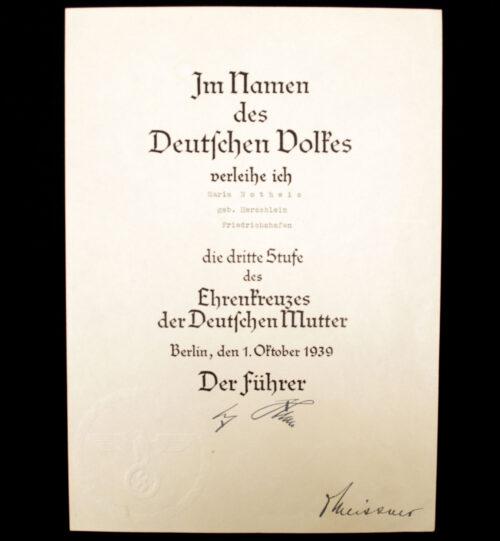 Mutterkreuz Ehrenkreuzes der Deutschen Mutter Urkunde Dritte Stufe Motherscross citation