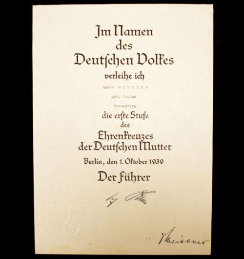 Mutterkreuz Ehrenkreuzes der Deutschen Mutter Urkunde Erste Stufe Motherscross citation