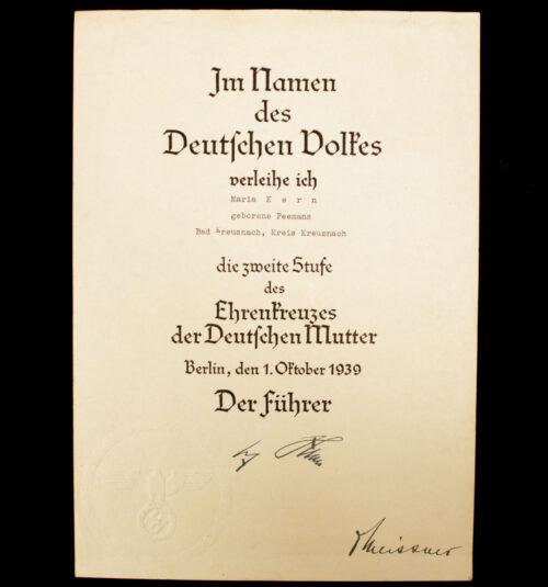 Mutterkreuz Ehrenkreuzes der Deutschen Mutter Urkunde Zweite Stufe Motherscross citation