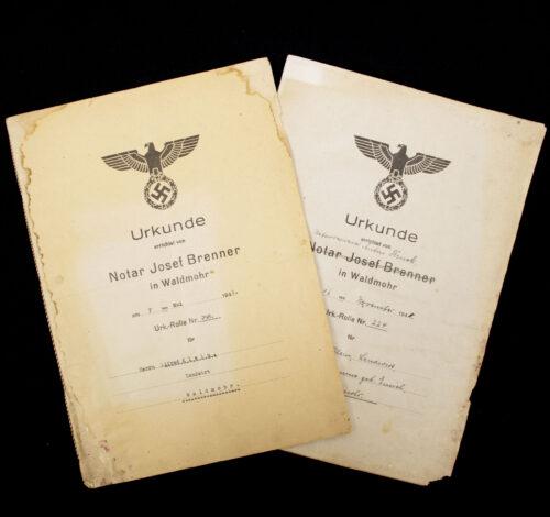 2 x Urkunde errichtet von Notar Josef Brenner in Waldemor (1941)