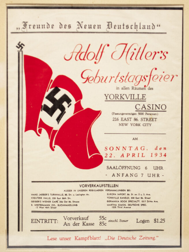 Adolf Hitler's Geburtstag Feier in NEW YORK (!) Framed invitationpaper