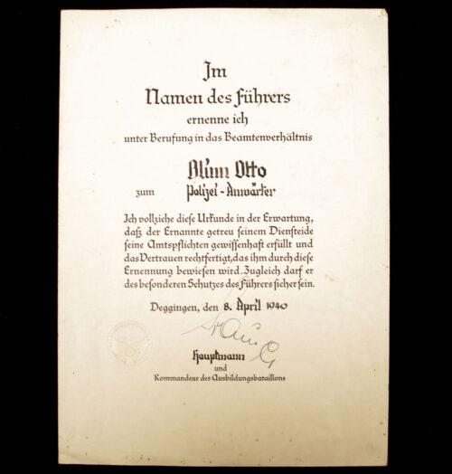 (Citation) Ernennungsurkunde Appointment citation Polizei-Anwärter (1940)
