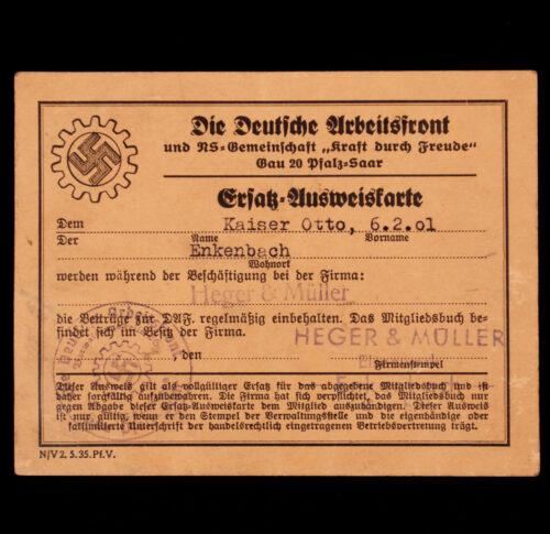 Die Deutsche Arbeitsfront Ersatz-Ausweisskarte