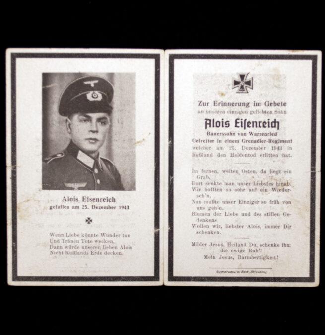 Heer Grenadier-Regiment deathcard KIA 25.12.43