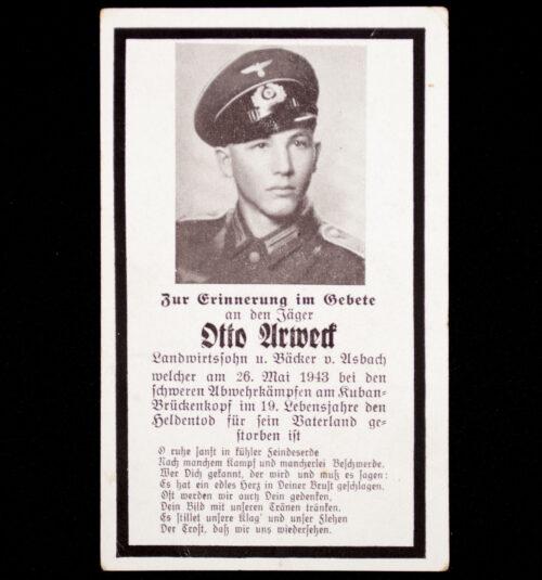 Heer Kuban-Brükenkopf (!) deathcard KIA 26.05.43