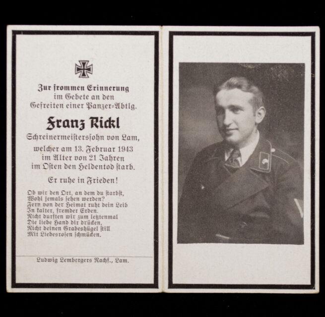 Heer Panzer deathcard KIA 13.2.43