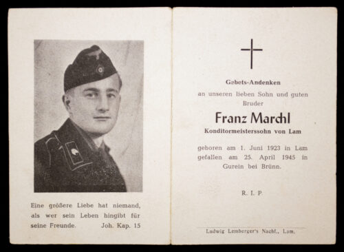 Heer Panzer deathcard KIA 25.4.45 in Gurein bei Brünn