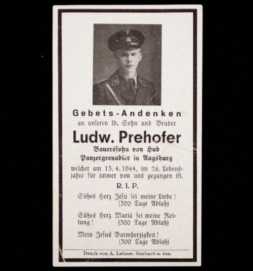 Heer Panzergrenadier deathcard KIA 13.4.44
