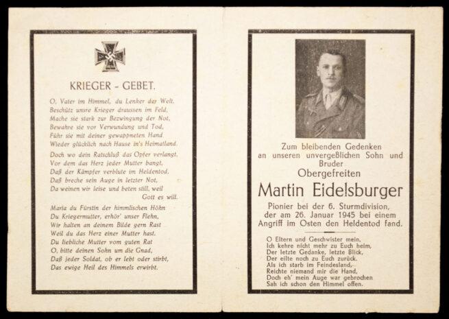 Heer Sturmdivision deathcard KIA 26.1.45