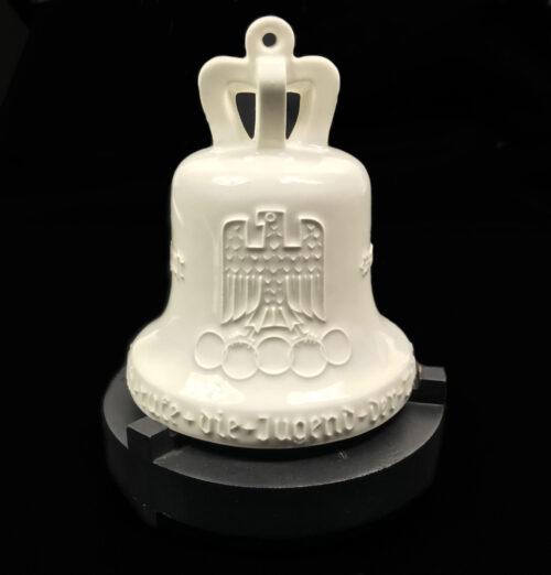 KPM Berlin Porcelain Olympic Games 1936 bell + wooden base