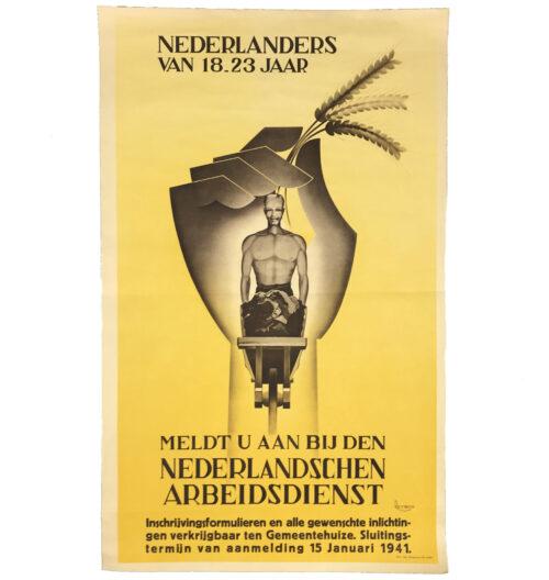 (Poster) Nederlanders vanaf 18.23 jaar Meldt u aan bij den Nederlandschen Arbeidsdienst