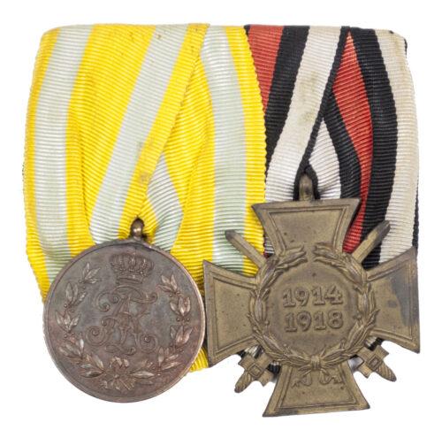 WWI German medalbar with Friedrich August medaille + Frontkämpfer Ehrenkreuz