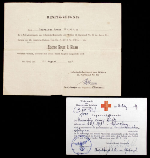 WWI + WWII Deutsches Rotes Kreuz (DRK) group with EK2 citation and Personalausweis