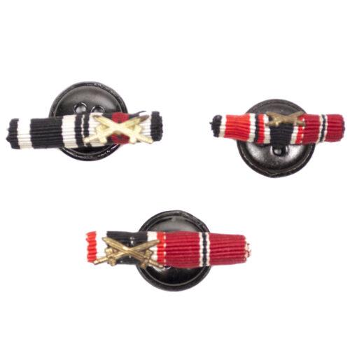 WWII German 3x Buttonhole miniature ribbonbars