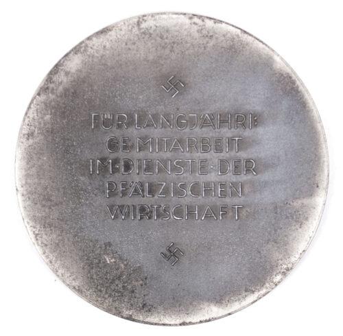 WWII German plaque in silver Für langjährige Mitarbeit im Dienste der pfälzischen Wirtschaft