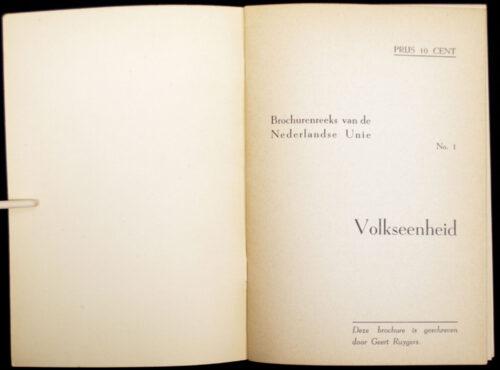 Brochurenreeks van de Nederlandsche Unie - Brochure 1 Volkseenheid