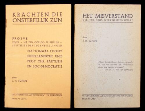 (brochures) 2x J. H. Scheps - Proeve eener na den oorlog te stellen synthese der tegenstellingen Nationaal Front, Nederlandsche Unie...